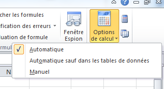Excel 2010 - Options de calcul